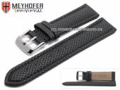 Watch strap Saarburg 22mm black synthetic textile look stitched MEYHOFER (width of buckle 20 mm)