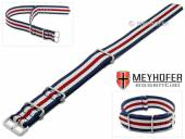 Watch strap Waterville 22mm dark blue textile white red stripes one piece strap in NATO style by MEYHOFER