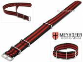 Watch strap Waterville 22mm black textile red stripes one piece strap in NATO style by MEYHOFER