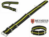 Watch strap Bidford 20mm black textile yellow strip one piece strap in NATO style by MEYHOFER