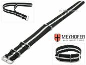 Watch strap Bidford 24mm black textile white strip one piece strap in NATO style by MEYHOFER