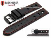 Watch strap Padborg 20mm black racing look red stitching black buckle by MEYHOFER (width of buckle 20 mm)
