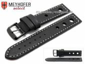 Watch strap Padborg 20mm black racing look light stitching black buckle by MEYHOFER (width of buckle 20 mm)