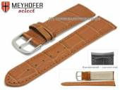 Watch strap Sarasota 20mm light brown leather alligator grain with curved ends by MEYHOFER (width of buckle 18 mm)