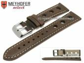 Watch strap Castletown 24mm dark brown racing look smooth light stitching by MEYHOFER (width of buckle 22 mm)