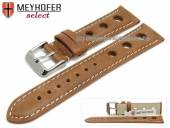 Watch strap Castletown 24mm light brown racing look smooth light stitching by MEYHOFER (width of buckle 22 mm)