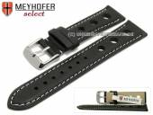 Watch strap Castletown 18mm black racing look smooth light stitching by MEYHOFER (width of buckle 16 mm)