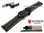 Watch strap Arlon 18mm black leather alligator grain black butterfly clasp by MEYHOFER (width of clasp 16 mm)