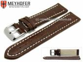 Watch strap XL Sanford 18mm dark brown leather alligator grain light stitching by MEYHOFER (width of buckle 18 mm)