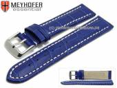 Watch strap XL Sanford 22mm royal blue leather alligator grain light stitching by MEYHOFER (width of buckle 20 mm)