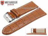 Watch strap XL Sanford 26mm brown leather alligator grain light stitching by MEYHOFER (width of buckle 24 mm)