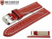 Watch strap XL Sanford 22mm red leather alligator grain light stitching by MEYHOFER (width of buckle 20 mm)