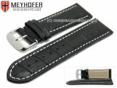 Watch strap Petare 28mm black leather alligator grain light stitching by MEYHOFER (width of buckle 26 mm)