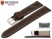 Watch strap Bardstown 20mm dark brown leather alligator grain with curved ends by MEYHOFER (width of buckle 18 mm)