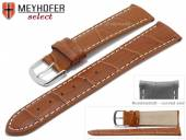 Watch strap Bardstown 20mm light brown leather alligator grain with curved ends by MEYHOFER (width of buckle 18 mm)