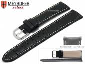 Watch strap Bardstown 19mm black leather alligator grain with curved ends by MEYHOFER (width of buckle 18 mm)