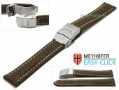 Watch strap Meyhofer EASY-CLICK Hudson 24mm dark brown Textile look light stitching with clasp (width of clasp 22 mm)