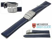 Watch strap Meyhofer EASY-CLICK Hudson 24mm blue Textile look light stitching with clasp (width of clasp 22 mm)