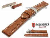 Watch strap XL Treffurt 24mm light brown leather alligator grain with butterfly clasp MEYHOFER (width of clasp 22 mm)