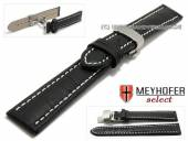 Watch strap XL Treffurt 22mm black leather alligator grain with butterfly clasp by MEYHOFER (width of clasp 20 mm)