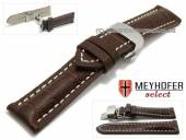 Watch strap XS Pirmasens 22mm dark brown leather alligator grain butterfly clasp by MEYHOFER (width of clasp 20 mm)
