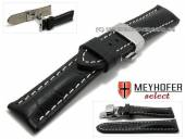 Watch strap XS Pirmasens 20mm black leather alligator grain with butterfly clasp by MEYHOFER (width of clasp 18 mm)