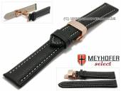 Watch strap Cumiana 20mm black leather light stitching with rosé golden clasp by MEYHOFER (width of clasp 18 mm)
