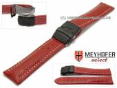 Watch strap Singapur 18mm red leather alligator grain with black clasp by MEYHOFER (width of clasp 18 mm)