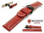 Watch strap Avanos 18mm red teju-grain light stitching butterfly clasp black MEYHOFER (width of clasp 18 mm)