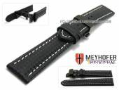 Watch strap Nogaro 18mm black carbon look butterfly clasp black light stitching by MEYHOFER (width of clasp 18 mm)