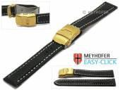 Watch strap Meyhofer EASY-CLICK Yukon 22mm black leather vegetable tanned light stitched clasp (width of clasp 20 mm)
