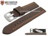 Watch strap Oldenburg 22mm dark brown synthetic textile look 2 colour double stitched MEYHOFER (width of buckle 22 mm)
