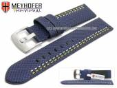 Watch strap Oldenburg 22mm dark blue synthetic textile look 2 colour double stitched MEYHOFER (width of buckle 22 mm)