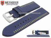 Watch strap Oldenburg 26mm dark blue synthetic textile look 2 colour double stitched MEYHOFER (width of buckle 26 mm)