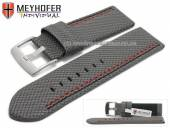 Watch strap Oldenburg 26mm grey synthetic textile look 2 coloured double stitching MEYHOFER (width of buckle 26 mm)