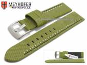 Watch strap Oldenburg 22mm green synthetic textile look 2 coloured double stitching MEYHOFER (width of buckle 22 mm)