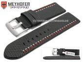 Watch strap Oldenburg 26mm black synthetic textile look 2 coloured double stitching MEYHOFER (width of buckle 26 mm)
