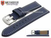 Watch strap Riga 22mm dark blue synthetic textile look light stitching by MEYHOFER (width of buckle 20 mm)