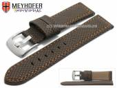 Watch strap Riga 22mm dark brown synthetic textile look orange stitching by MEYHOFER (width of buckle 20 mm)