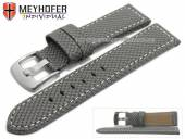 Watch strap Riga 22mm grey synthetic textile look light stitching by MEYHOFER (width of buckle 20 mm)