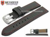 Watch strap Riga 22mm black synthetic textile look red stitching by MEYHOFER (width of buckle 20 mm)