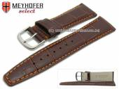 Watch strap Savona 19mm dark brown leather alligator grain orange stitching by MEYHOFER (width of buckle 16 mm)
