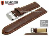Watch band Meyhofer EASY-CLICK Marseille Special 20mm d. brown allig. grain orange stitching (width of buckle 20 mm
