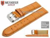 Watch band Meyhofer EASY-CLICK Marseille Special 20mm orange allig. grain black stitching (width of buckle 20 mm)
