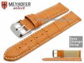 Watch band Meyhofer EASY-CLICK Marseille 20mm orange alligator grain light stitching (width of buckle 20 mm)