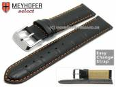 Watch band Meyhofer EASY-CLICK Marseille Special 20mm black allig. grain orange stitching (width of buckle 20 mm)