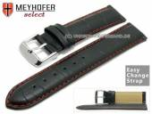 Watch band Meyhofer EASY-CLICK Marseille Special 20mm black alligator grain red stitching (width of buckle 20 mm)