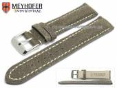 Watch strap Tenay 24mm antique-black leather antique look light stitching by MEYHOFER (width of buckle 20 mm)