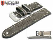 Watch strap Ansbach 26mm antique-black leather aviator look light stitching by MEYHOFER (width of buckle 24 mm)