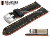 Watch strap Estero 19mm black leather alligator grain orange stitching by MEYHOFER (width of buckle 18 mm)